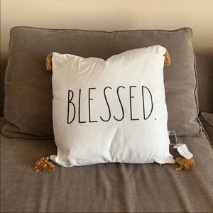 New 20x20 Blessed Pillow With Tassels